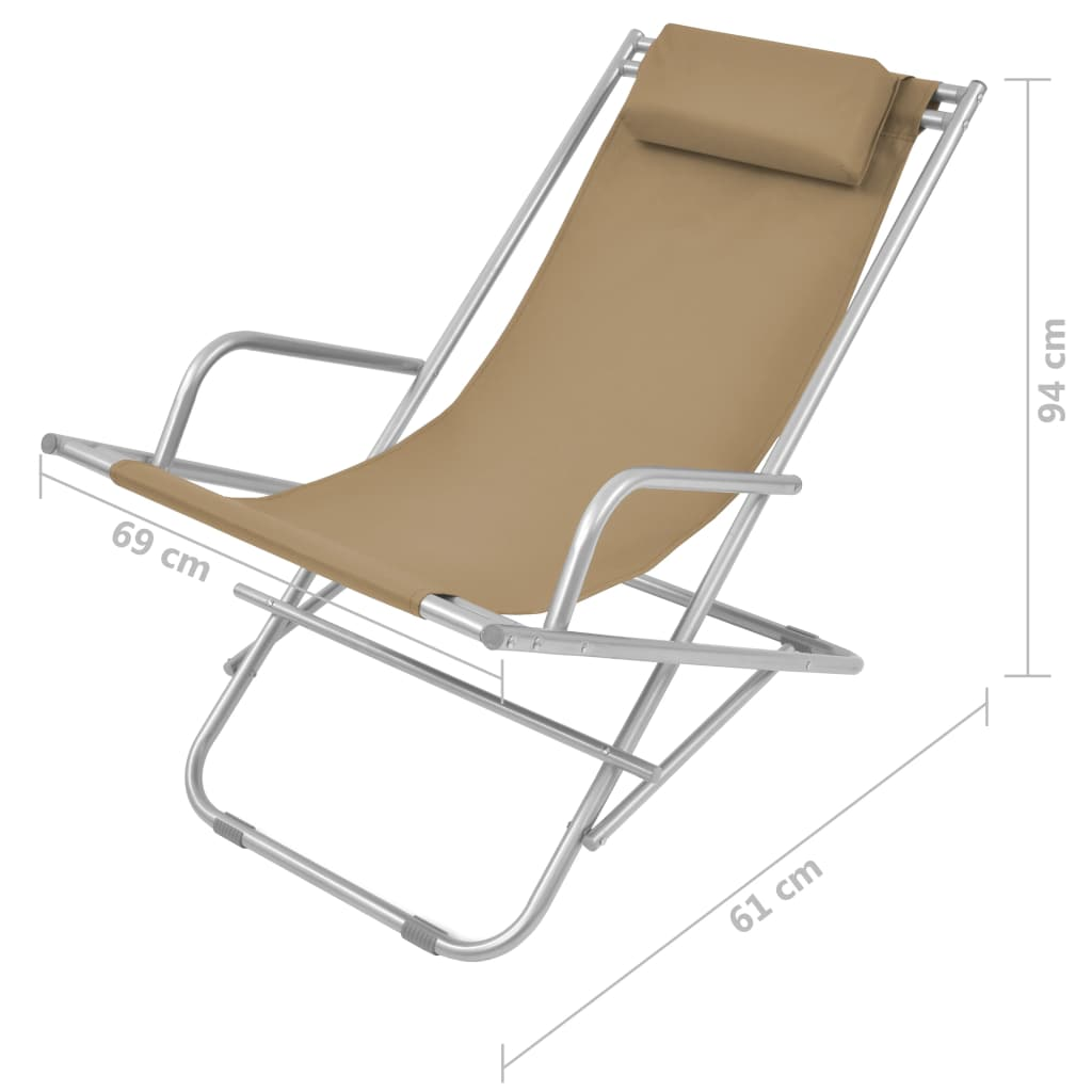 Reclining Deck Chairs 2 pcs Steel Taupe 9