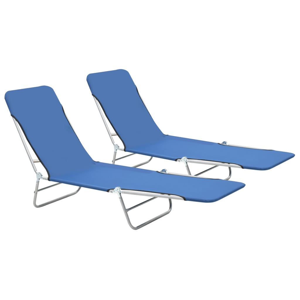 Folding Sun Loungers 2 pcs Steel and Fabric Blue