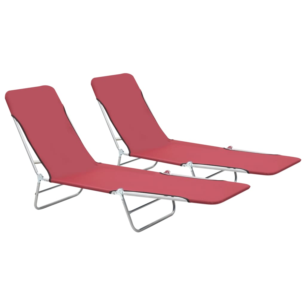 Folding Sun Loungers 2 pcs Steel and Fabric Red 1