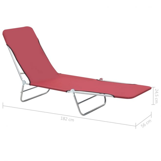 Folding Sun Loungers 2 pcs Steel and Fabric Red 11
