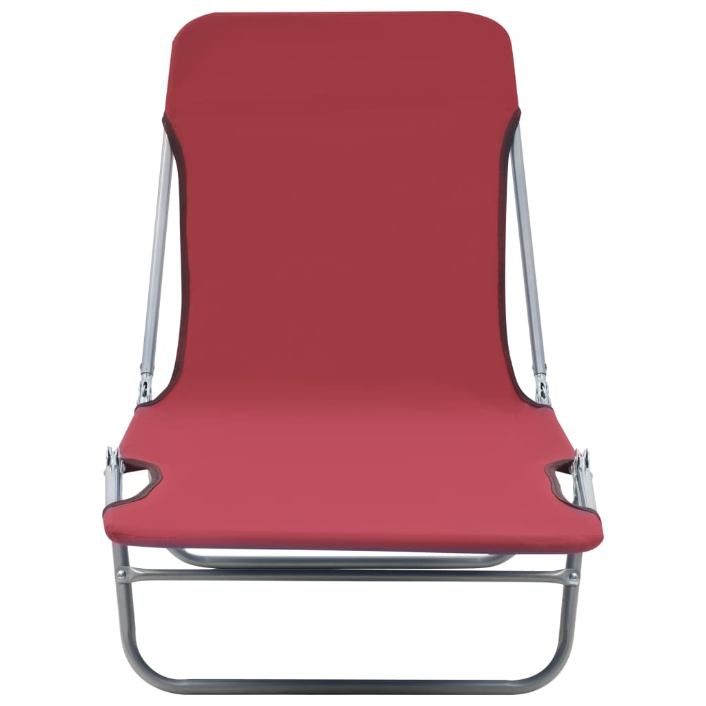 Folding Sun Loungers 2 pcs Steel and Fabric Red 4
