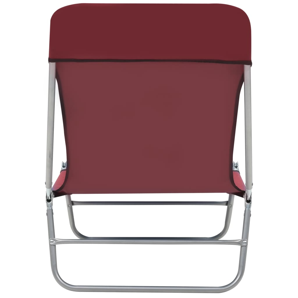 Folding Sun Loungers 2 pcs Steel and Fabric Red 7
