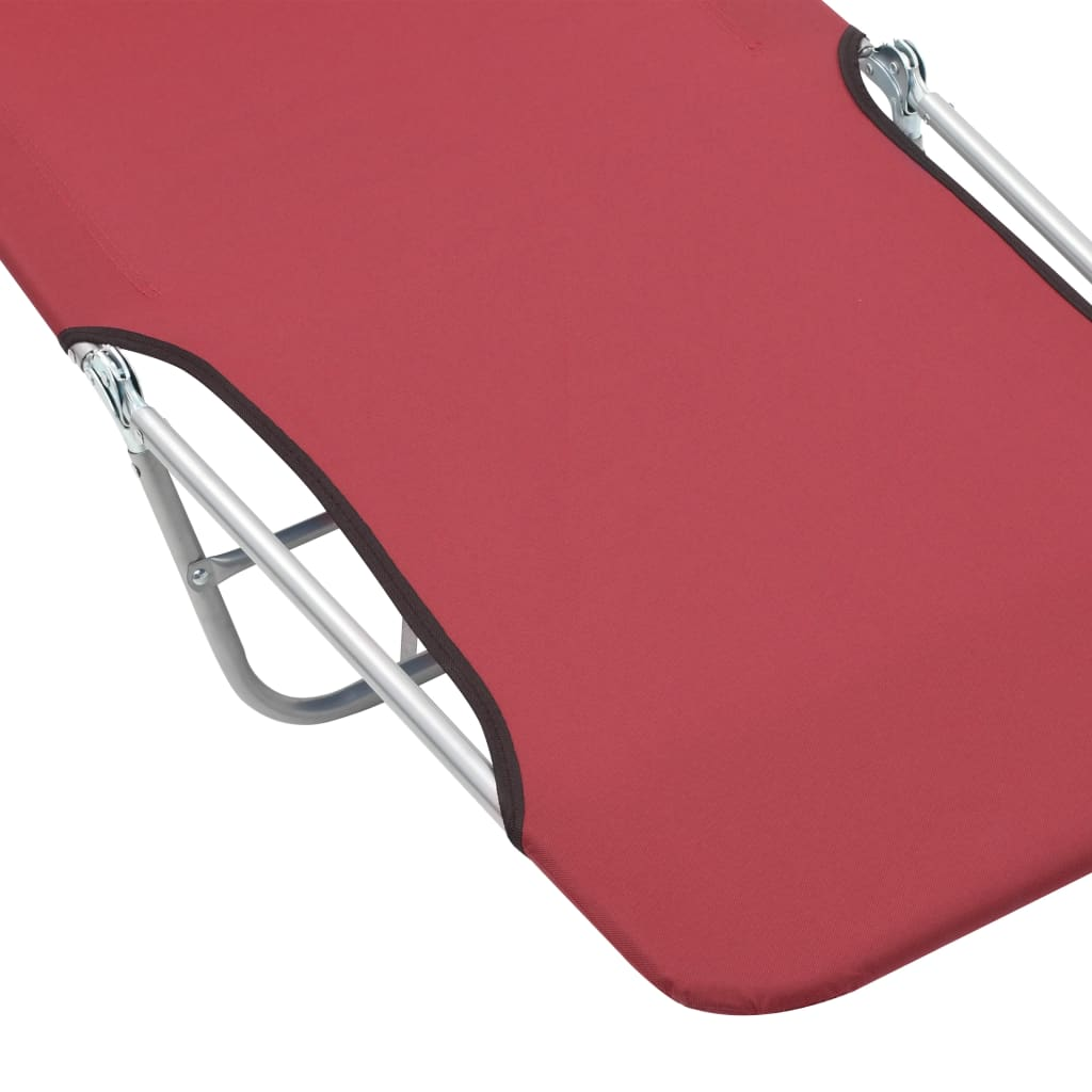 Folding Sun Loungers 2 pcs Steel and Fabric Red 8
