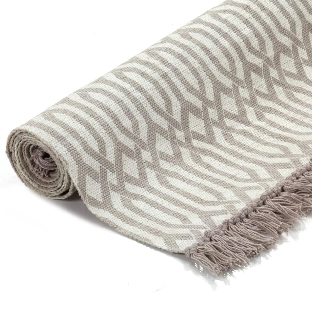 Kilim Rug Cotton 120×180 cm with Pattern Taupe 2
