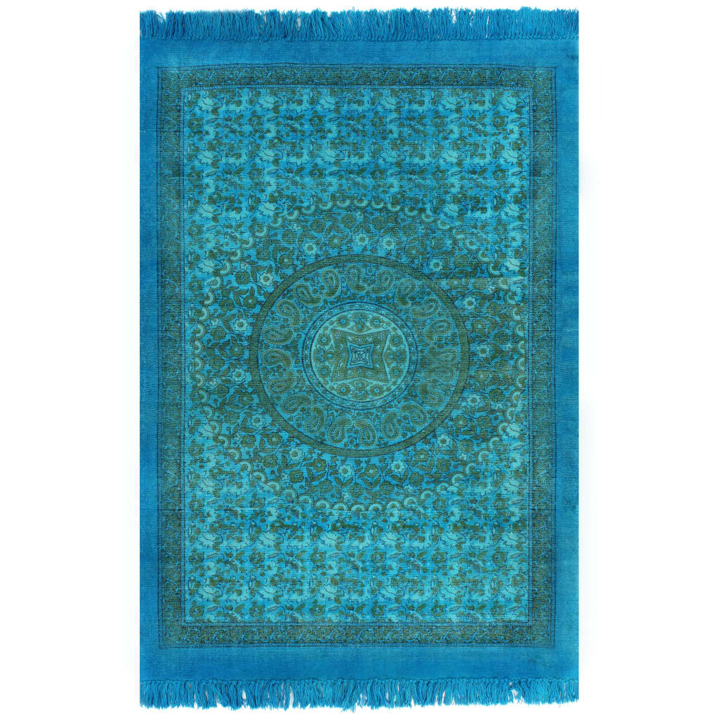 Kilim Rug Cotton 120×180 cm with Pattern Turquoise 1