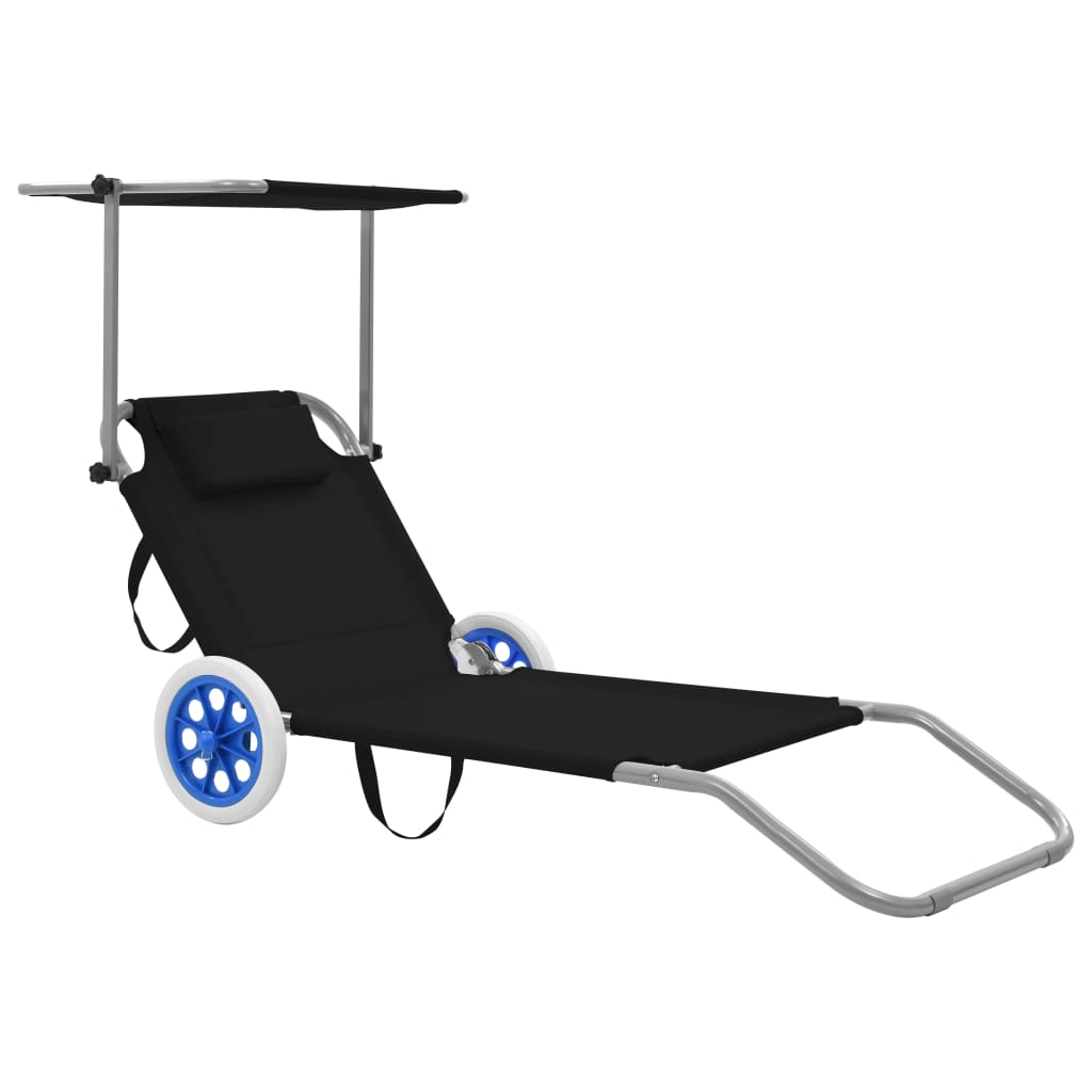 Folding Sun Lounger with Canopy and Wheels Steel Black 1