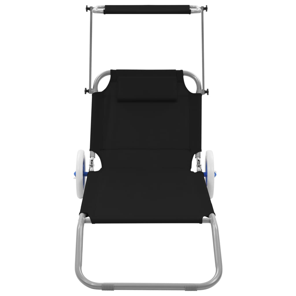 Folding Sun Lounger with Canopy and Wheels Steel Black 2