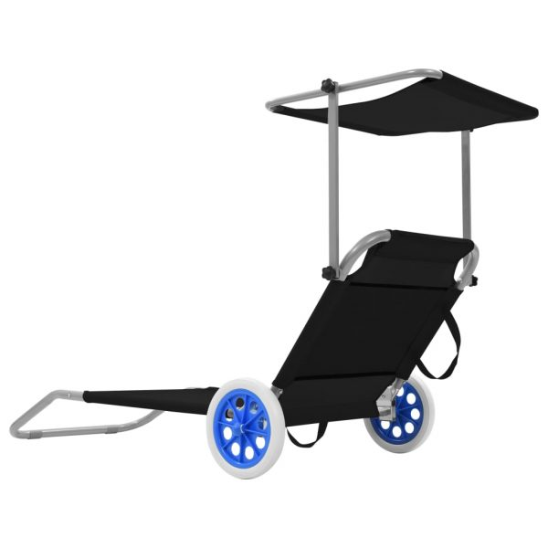 Folding Sun Lounger with Canopy and Wheels Steel Black 3