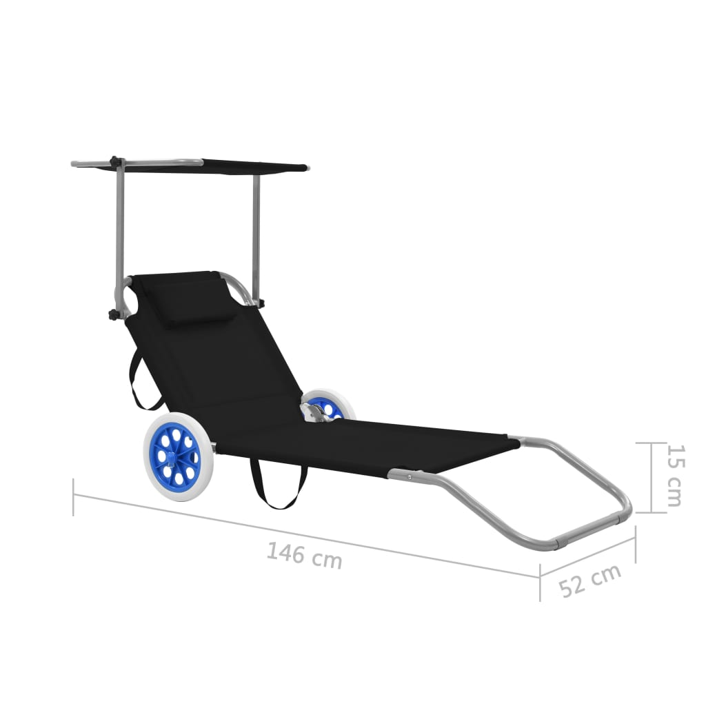 Folding Sun Lounger with Canopy and Wheels Steel Black 9