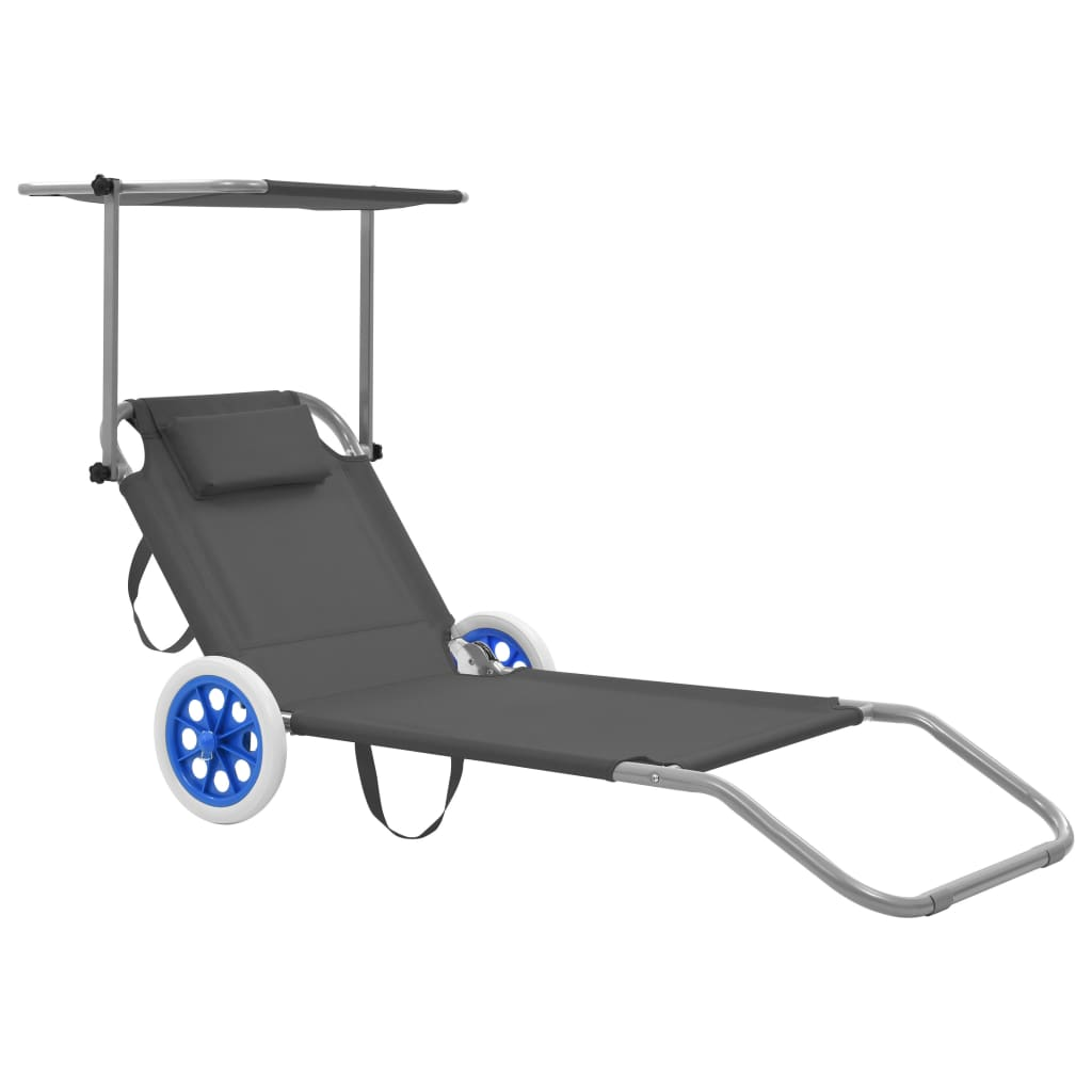 Folding Sun Lounger with Canopy and Wheels Steel Grey 1