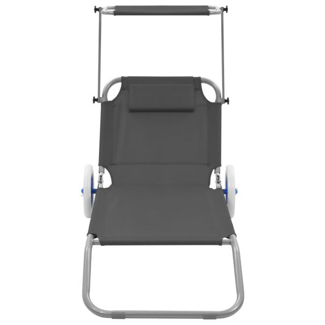 Folding Sun Lounger with Canopy and Wheels Steel Grey 2