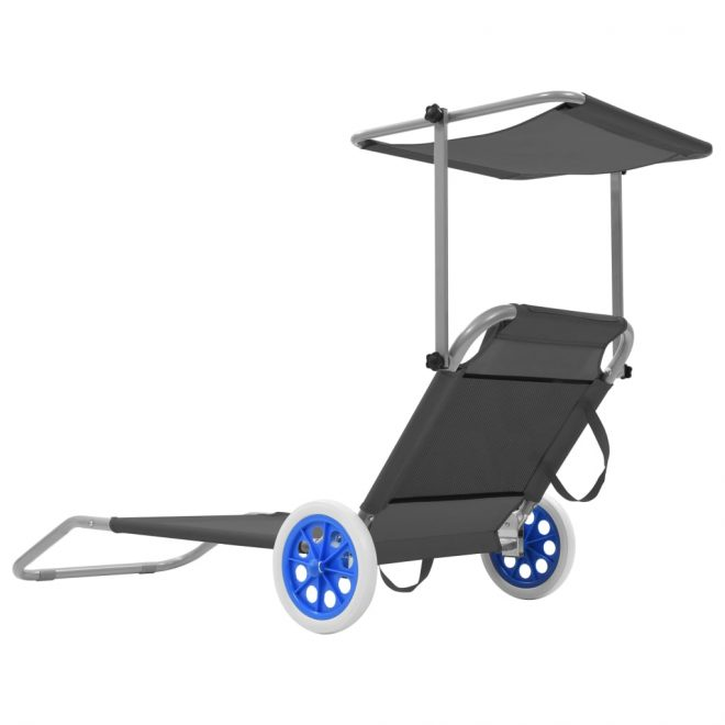 Folding Sun Lounger with Canopy and Wheels Steel Grey 3