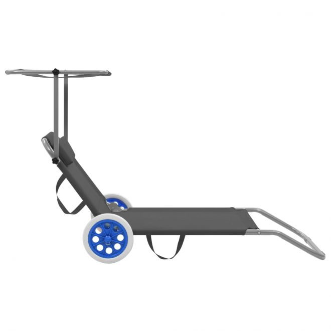 Folding Sun Lounger with Canopy and Wheels Steel Grey 4