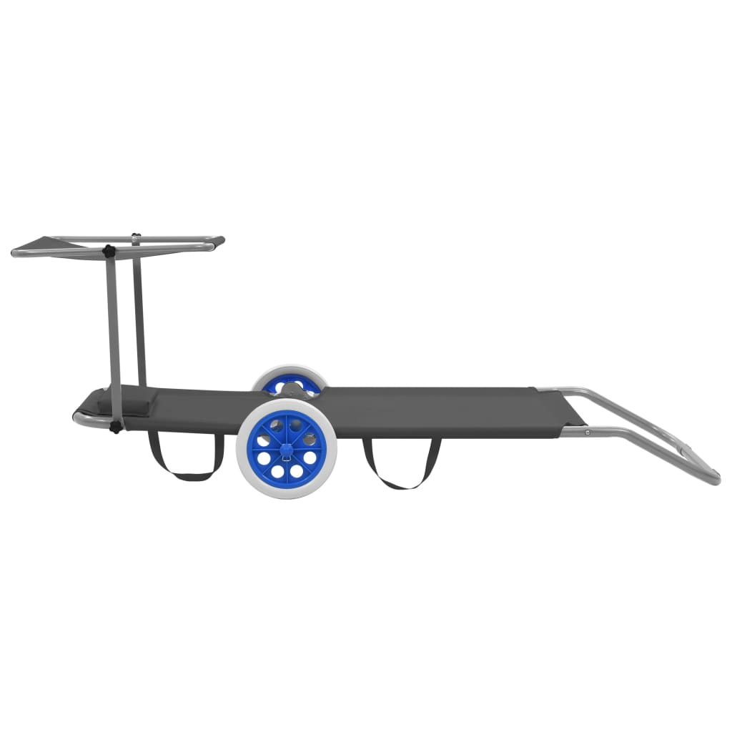 Folding Sun Lounger with Canopy and Wheels Steel Grey 5