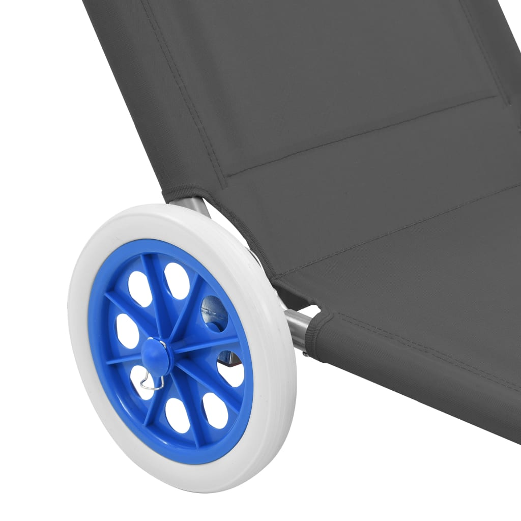 Folding Sun Lounger with Canopy and Wheels Steel Grey 8