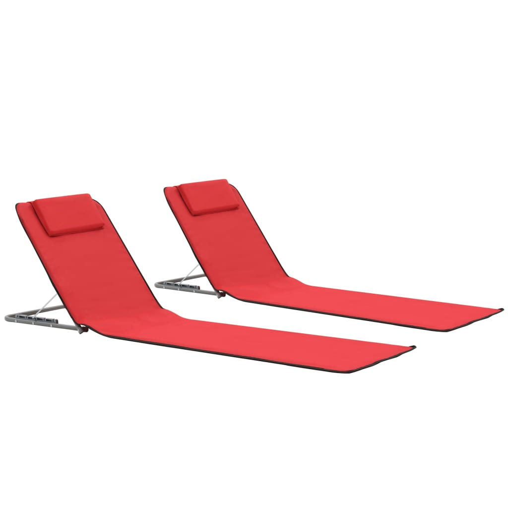 Folding Beach Mats 2 pcs Steel and Fabric Red 1