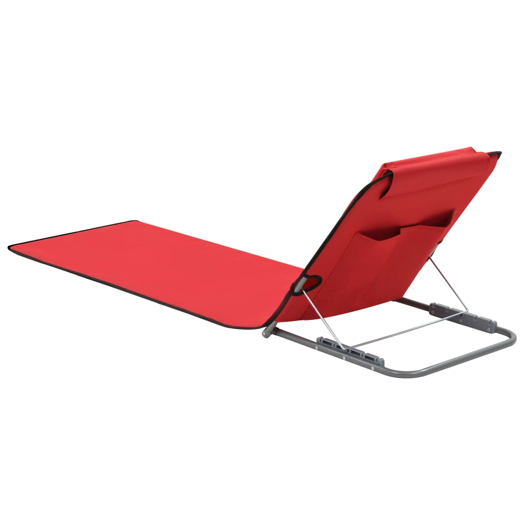 Folding Beach Mats 2 pcs Steel and Fabric Red 4