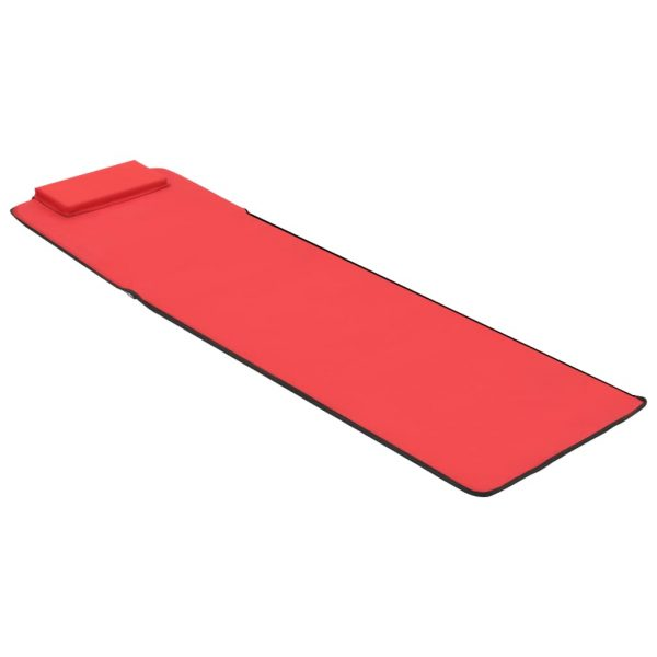Folding Beach Mats 2 pcs Steel and Fabric Red 8