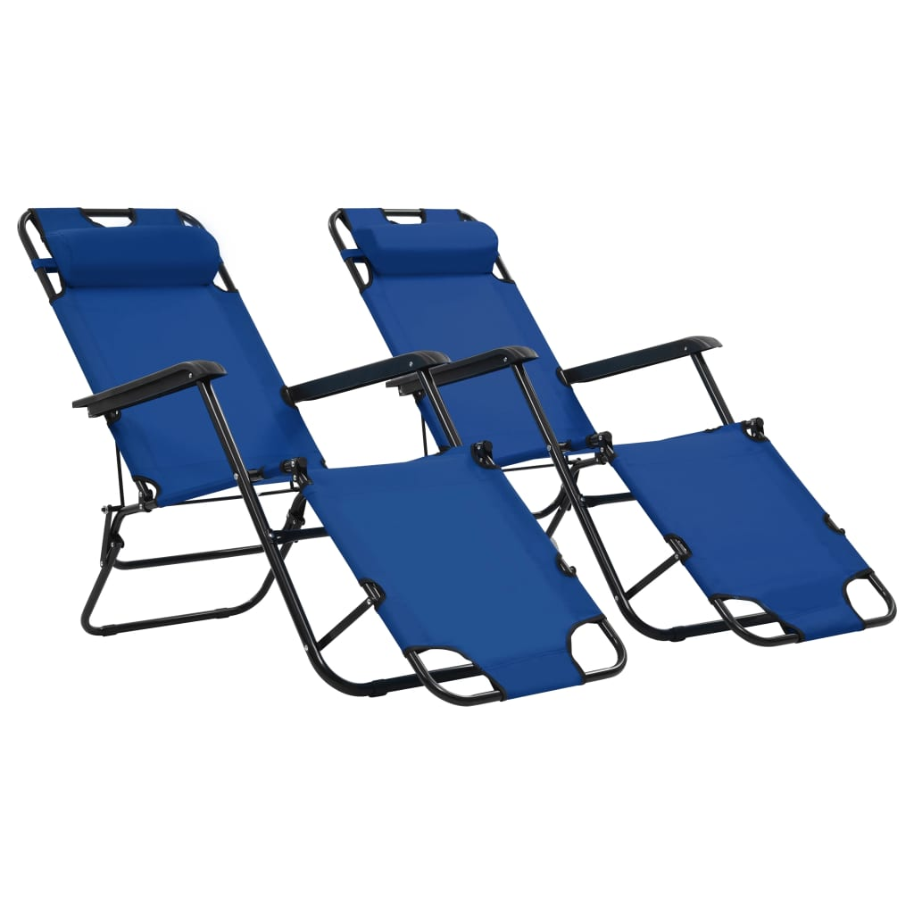 Folding Sun Loungers 2 pcs with Footrests Steel Blue 1