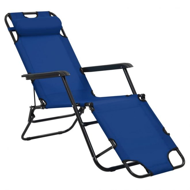 Folding Sun Loungers 2 pcs with Footrests Steel Blue 4