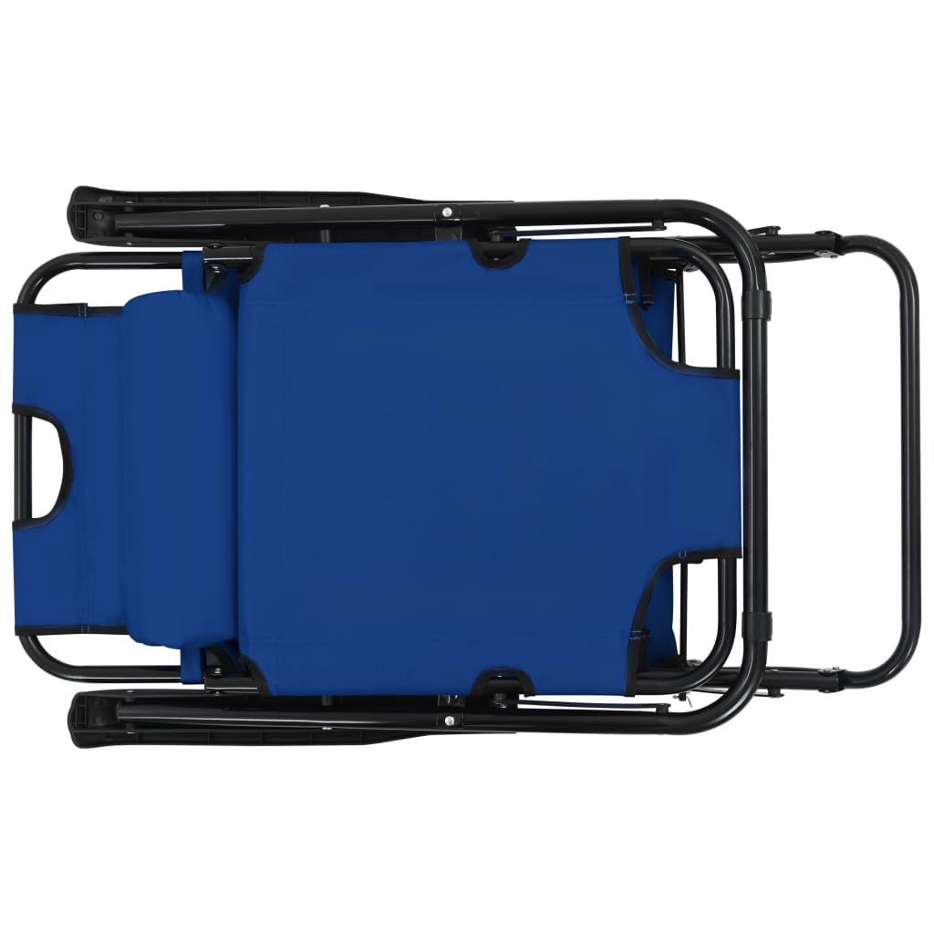 Folding Sun Loungers 2 pcs with Footrests Steel Blue 8