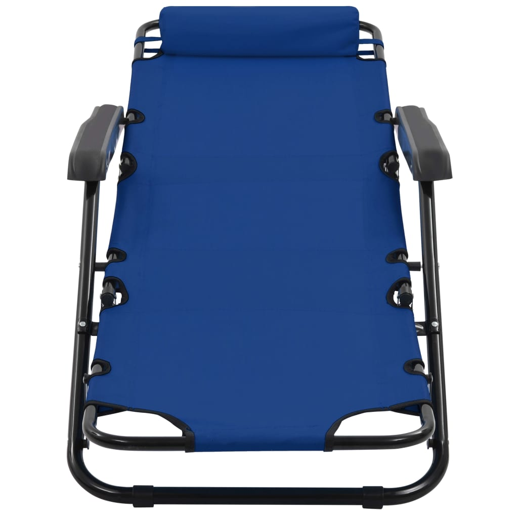 Folding Sun Loungers 2 pcs with Footrests Steel Blue 9