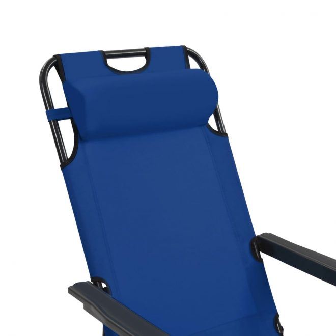 Folding Sun Loungers 2 pcs with Footrests Steel Blue 10