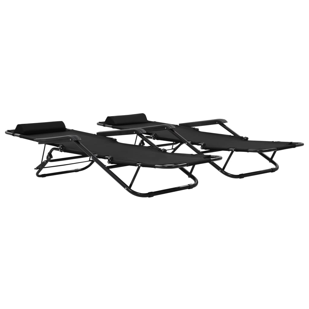 Folding Sun Loungers 2 pcs with Footrests Steel Black 2