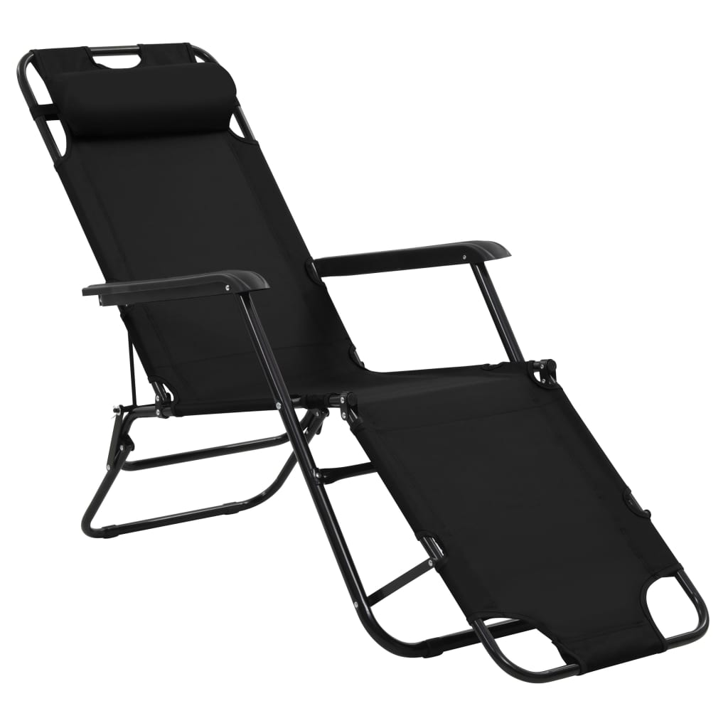 Folding Sun Loungers 2 pcs with Footrests Steel Black 3