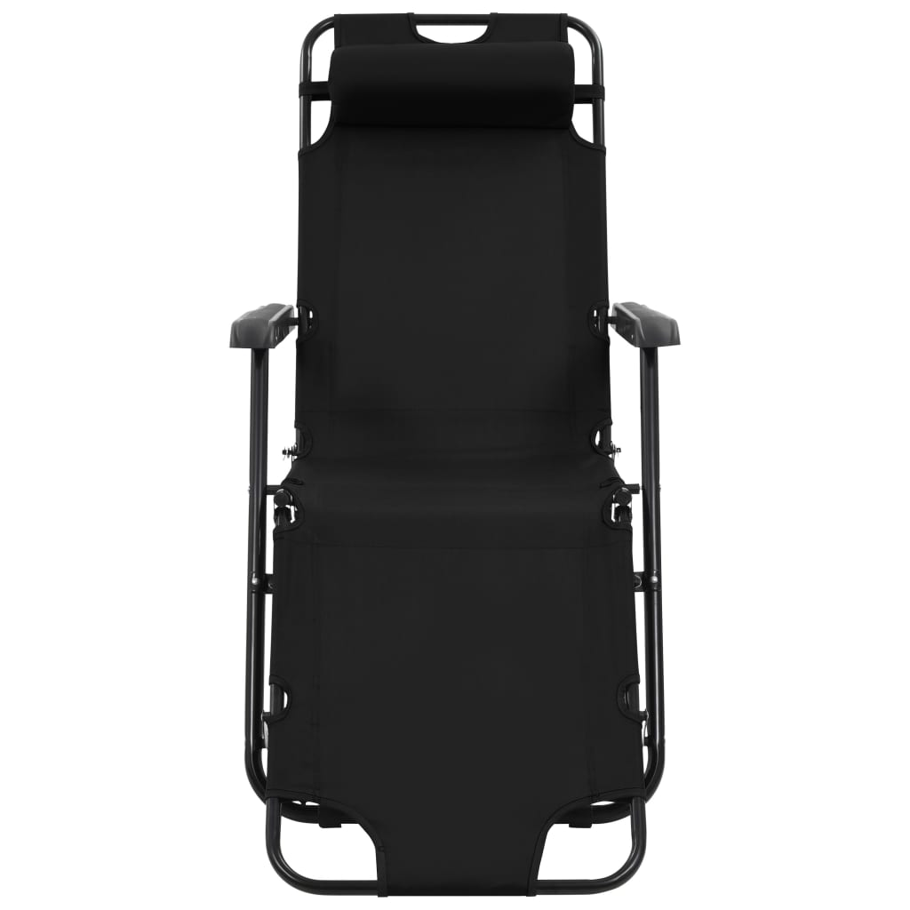 Folding Sun Loungers 2 pcs with Footrests Steel Black 4