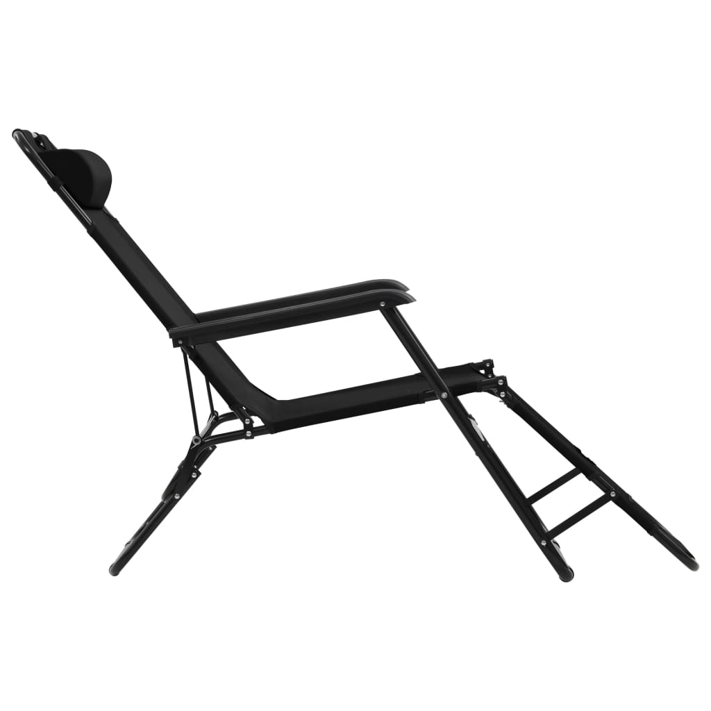 Folding Sun Loungers 2 pcs with Footrests Steel Black 5