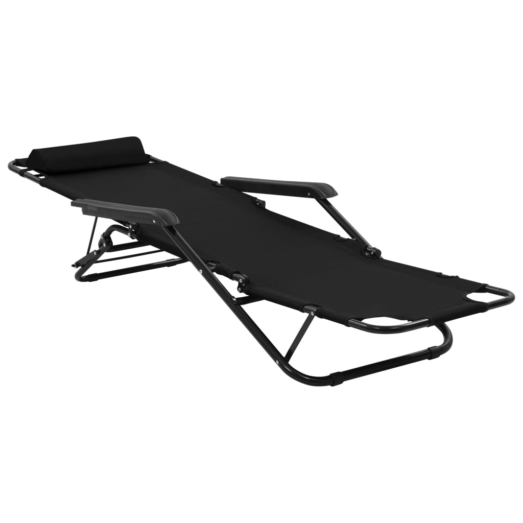 Folding Sun Loungers 2 pcs with Footrests Steel Black 7