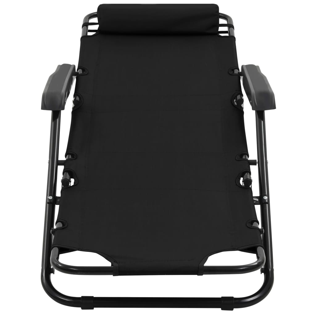 Folding Sun Loungers 2 pcs with Footrests Steel Black 8