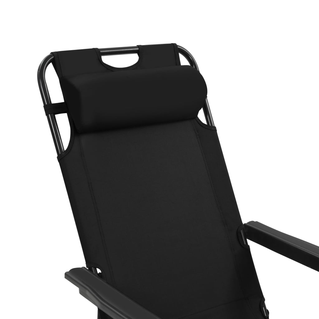 Folding Sun Loungers 2 pcs with Footrests Steel Black 9