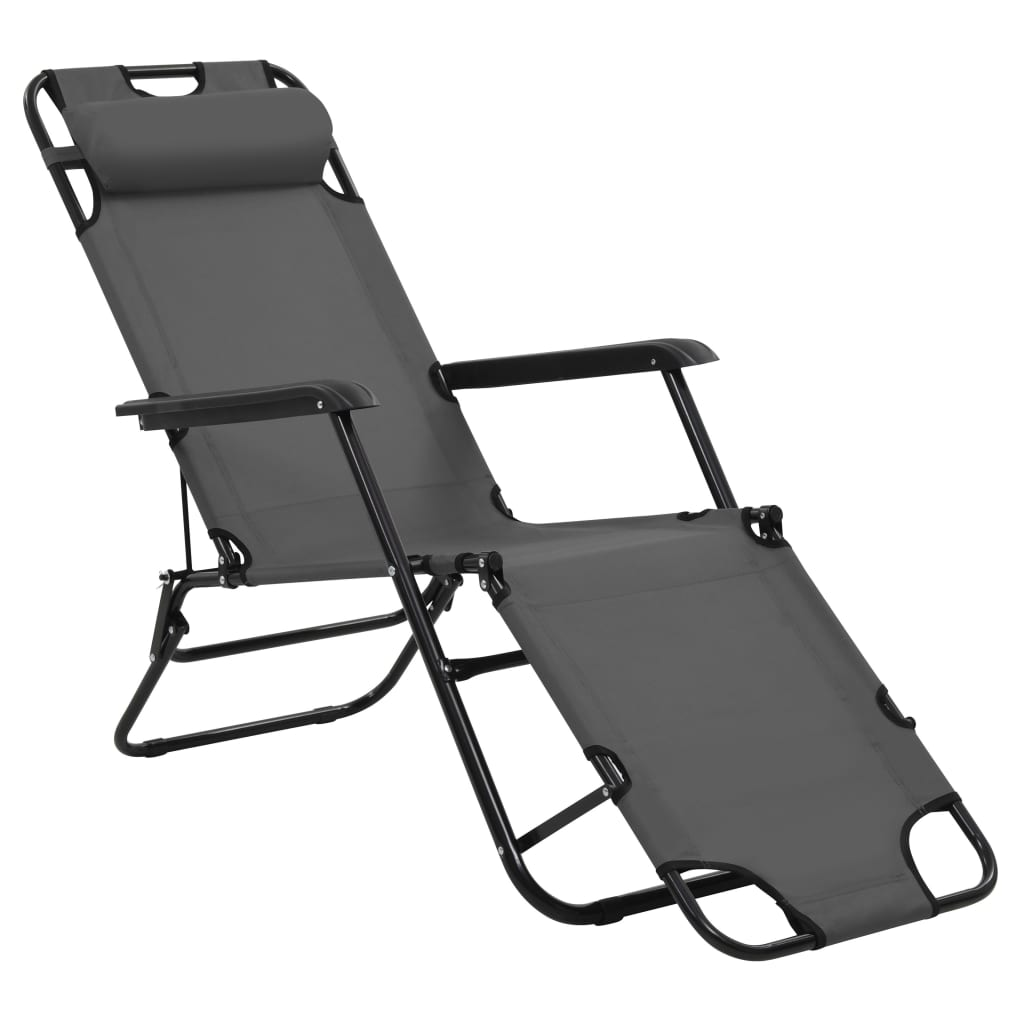 Folding Sun Loungers 2 pcs with Footrests Steel Grey 4