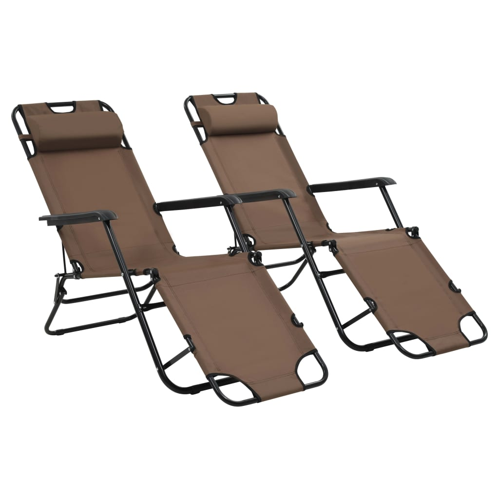 Folding Sun Loungers 2 pcs with Footrests Steel Brown 1