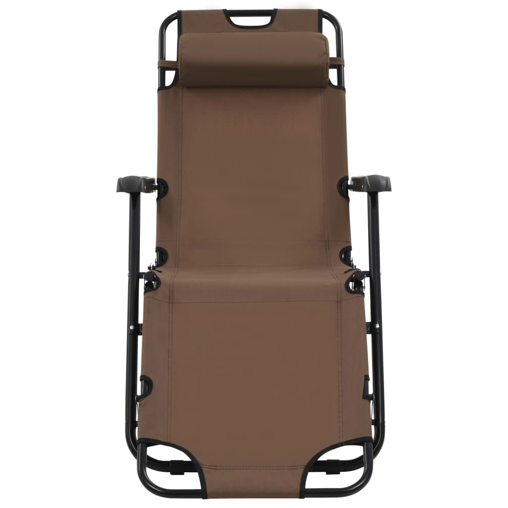 Folding Sun Loungers 2 pcs with Footrests Steel Brown 3
