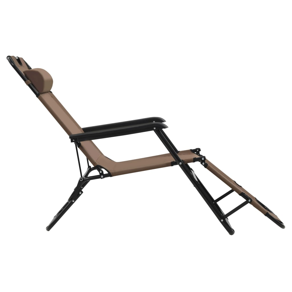 Folding Sun Loungers 2 pcs with Footrests Steel Brown 5