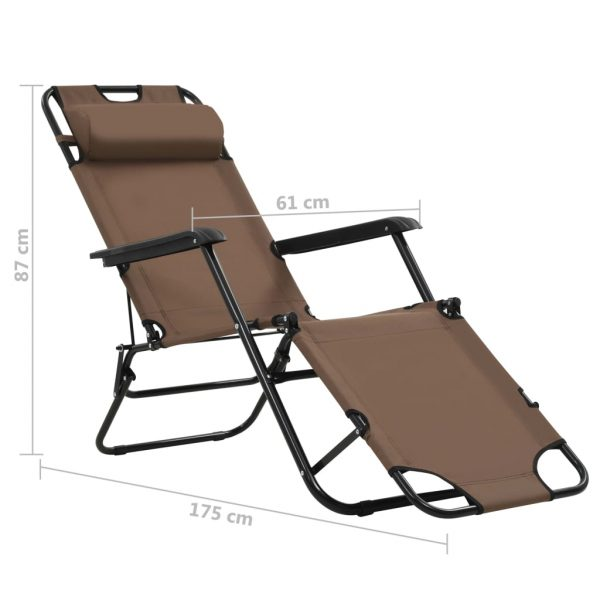 Folding Sun Loungers 2 pcs with Footrests Steel Brown 9