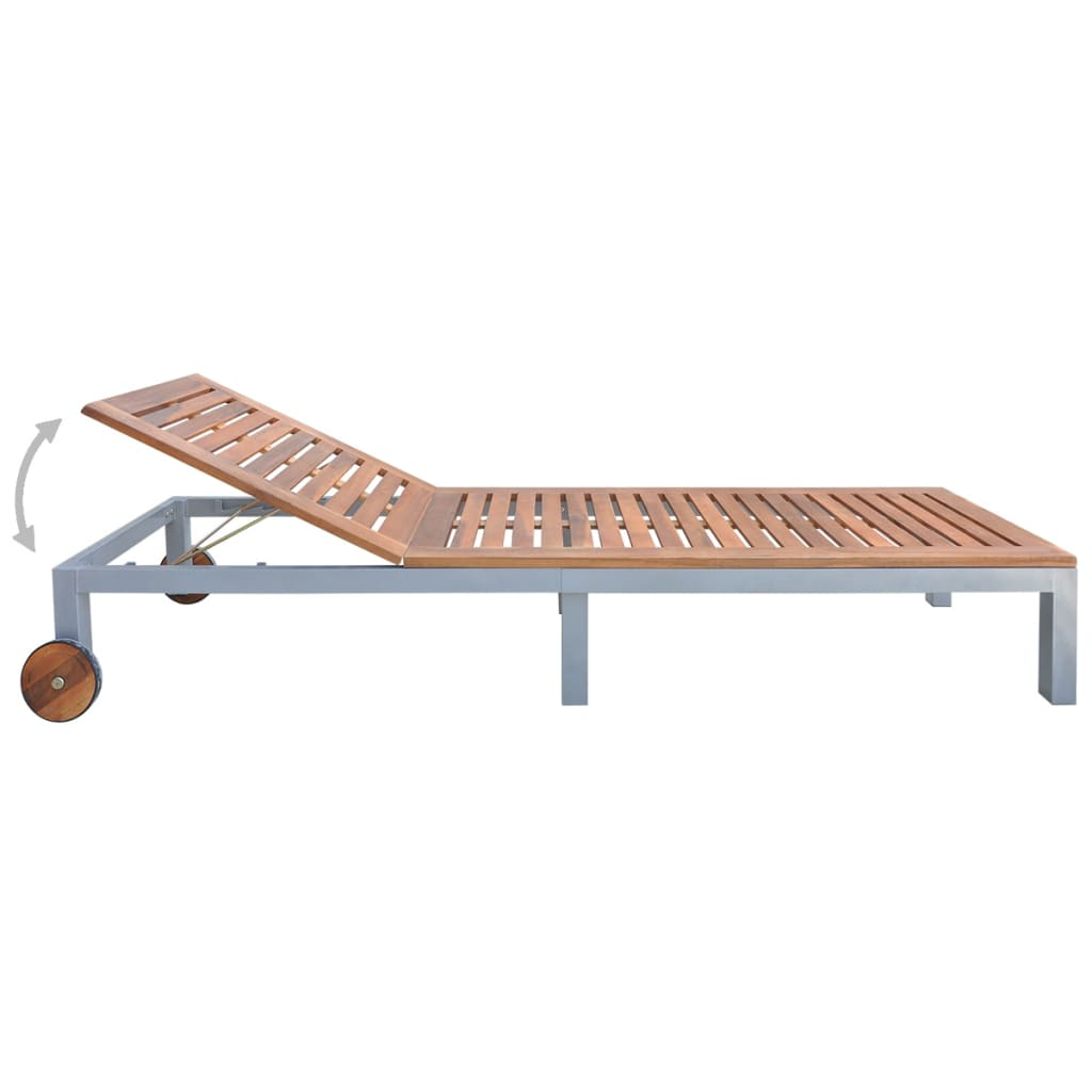 Sun Lounger Solid Acacia Wood 3