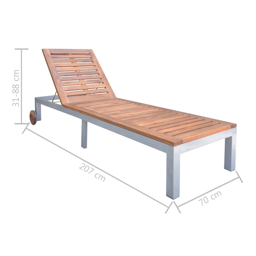 Sun Lounger Solid Acacia Wood 5