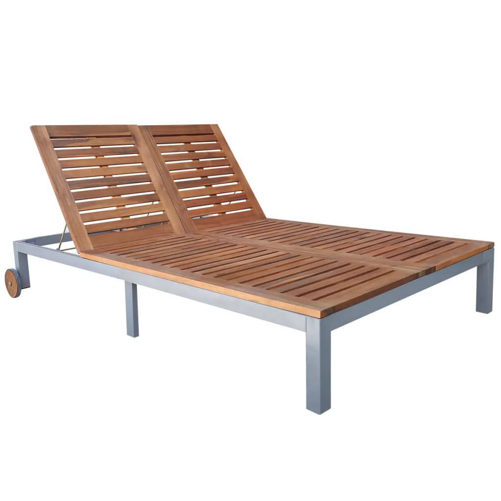 Double Sun Lounger Solid Acacia Wood
