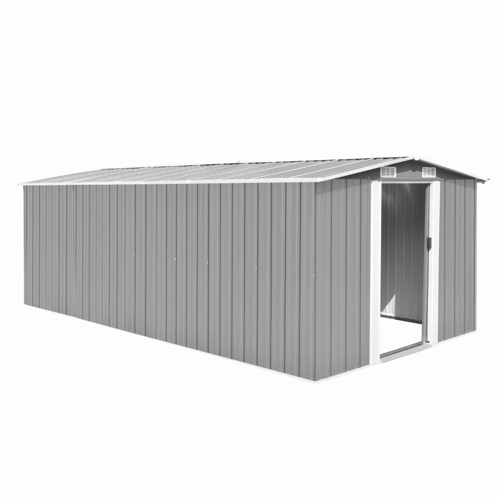 Garden Shed 257x497x178 cm Metal Grey 1