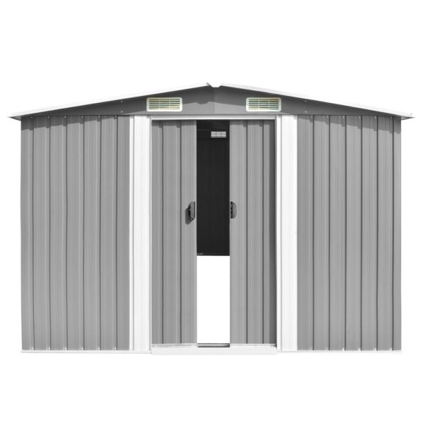Garden Shed 257x497x178 cm Metal Grey 5