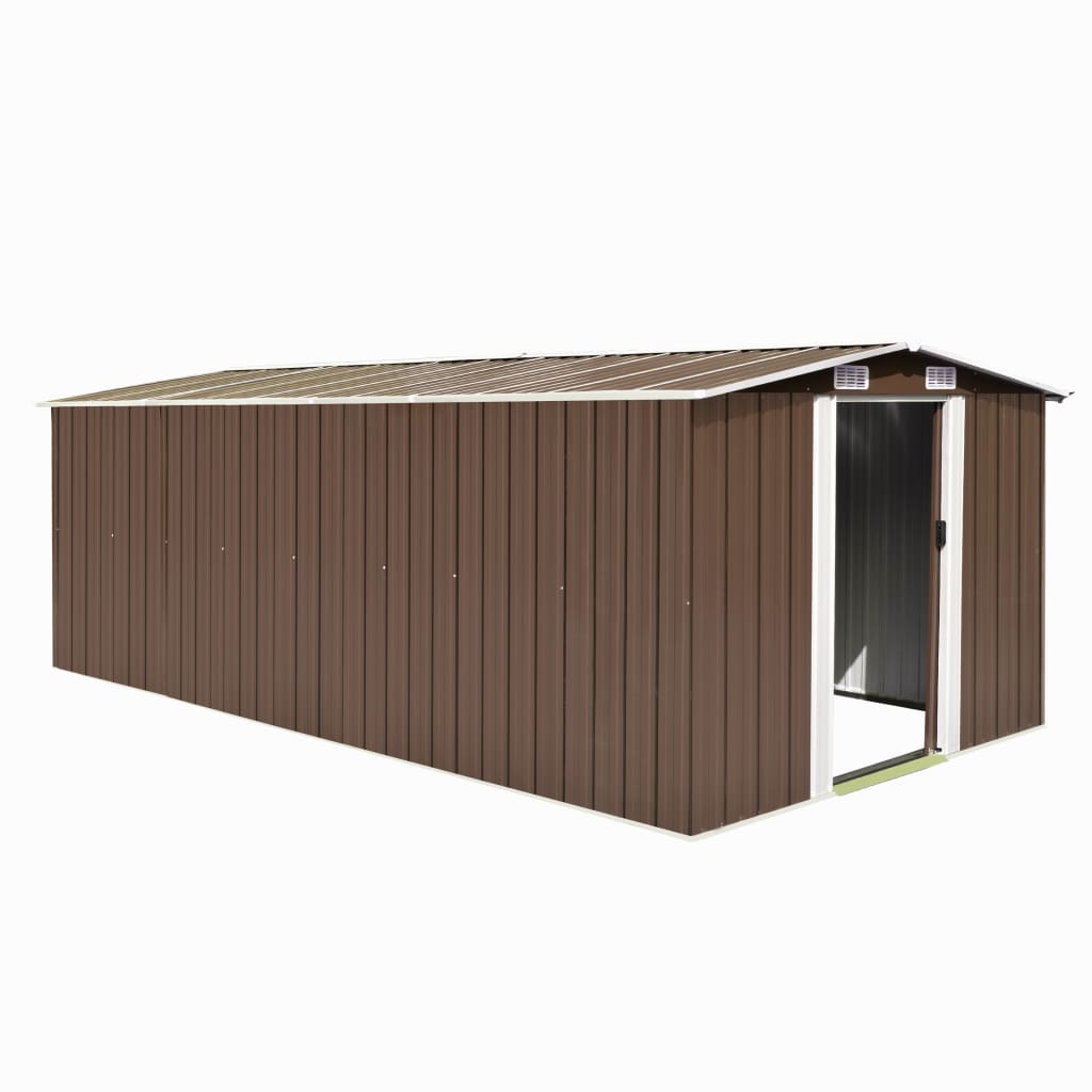 Garden Shed 257x497x178 cm Metal Brown