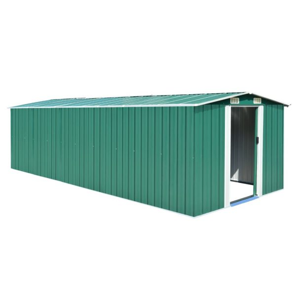 Garden Shed 257x597x178 cm Metal Green 1