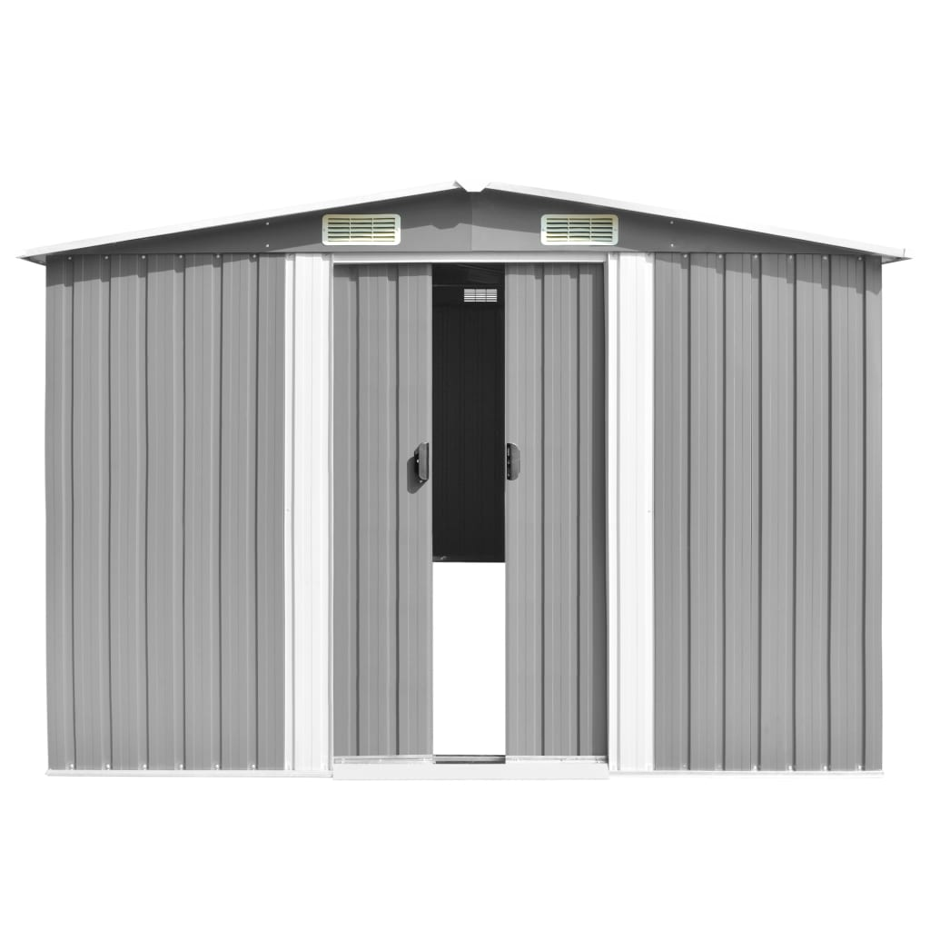 Garden Shed 257x597x178 cm Metal Grey 5