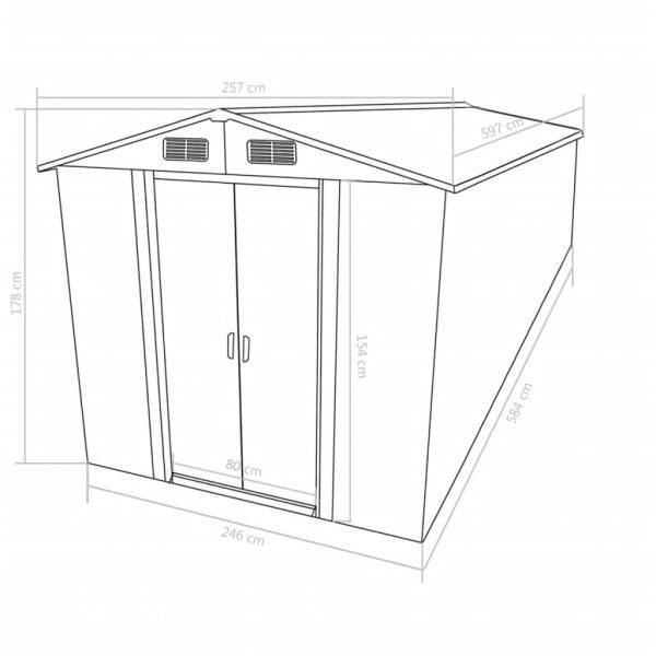 Garden Shed 257x597x178 cm Metal Grey 9