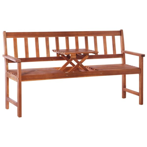 3-Seater Garden Bench with Table 158 cm Solid Acacia Wood Brown 1