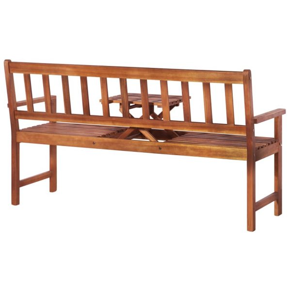 3-Seater Garden Bench with Table 158 cm Solid Acacia Wood Brown 4